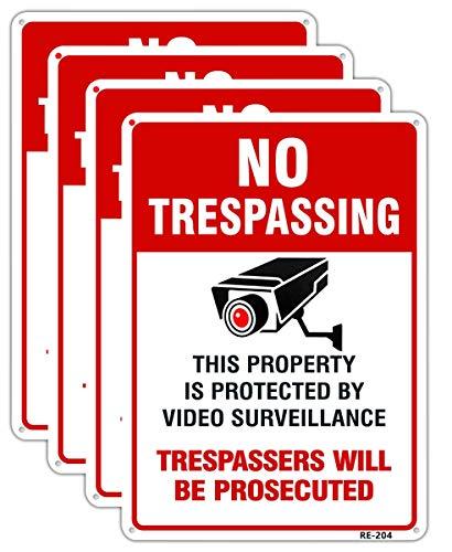 Dxyizus signos No Trespassing Signs, señal de video vigilancia de aluminio, 10 x 14 pulgadas, tinta UV impresa para casa y negocios, Paquete de 4