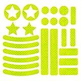 JCstarrie Adesivi Catarifrangenti Kit Adesivi Riflettenti 22 Pezzi, visibilità Notturna, Adesivo Universale per Bici, Auto, Passeggino, Casco, Moto, Scooter, Giocattoli