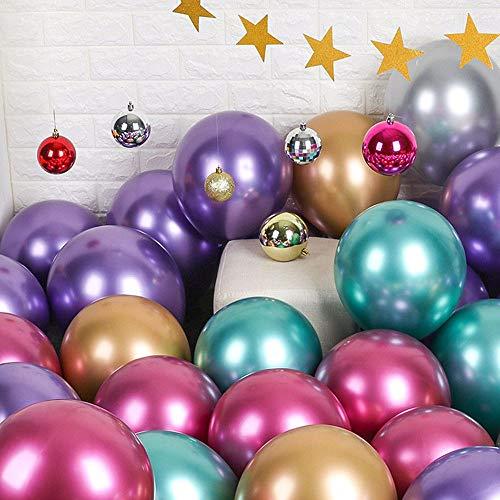 Palloncini festaioli 12 pollici 50 Pz Palloncini lattice metallizzati Palloncini cromati Palloncini compleanno Palloncini lucidi Decorazione festa Compleanno nuziali Baby Shower Festa natalizia