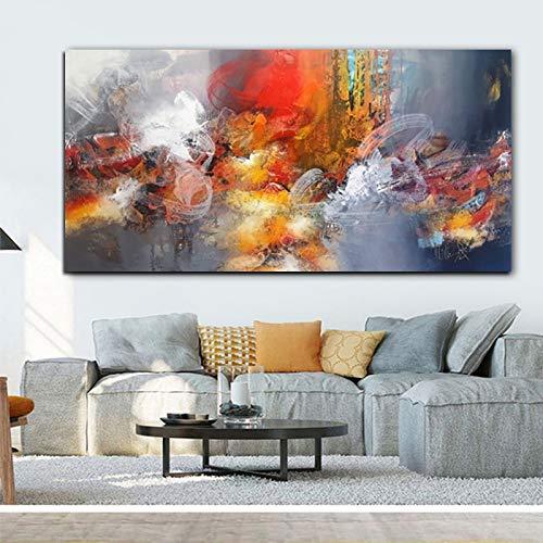 YuanMinglu Abstracto Moderno Nube roja Lienzo Pintura Cartel