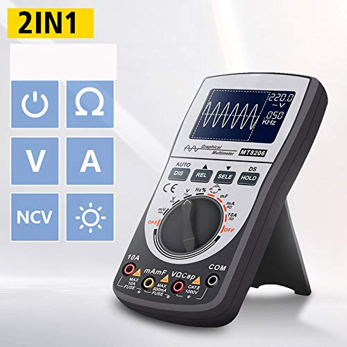 SHIJING MT8206 2 in 1 Intelligentes Digitaloszilloskop-Multimeter mit analogem Balkendiagramm 200k High-Speed-A/D-Abtastung