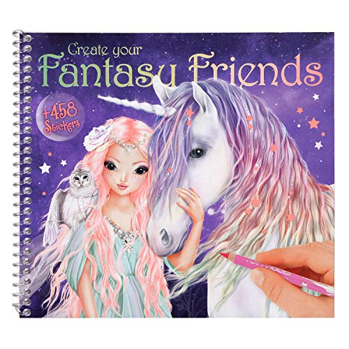 Depesche 10617 Malbuch mit Stickern, Create Your Fantasy Friends, bunt