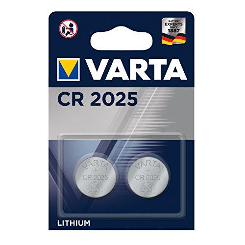 VARTA CR 2025, 6025101402, Batteria Litio a Bottone, Piatta, Specialistica, 3 Volts, Diametro 20mm, Altezza 2,5mm, confezione 2 pile