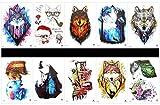 tatuajes falsos reales en 1 paquete, incluyendo leopardo, estatua de la libertad, tigre, lobo, perro, gato, mono, oso