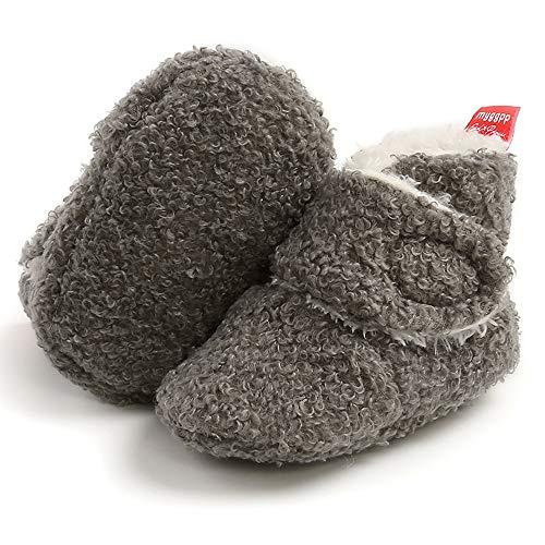 LAFEGEN Baby Booties for Boys Girls with Soft Cotton Lining Non Slip Gripper Newborn Infant Slipper Socks Toddler First Walker Crib Shoes 0-18 Months, 6-12 Months Infant, 08 Dark Grey