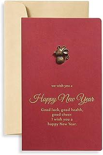 RROVE Tarjetas de felicitación de Feliz año Nuevo de 1 Pieza con Tarjetas de felicitación de Navidad de Sobres.