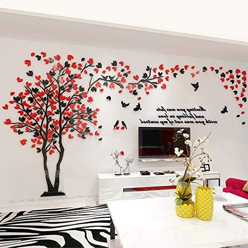 Albero Adesivo da Parete, Fai da te 3D Adesivi Murali Wall Stickers Con Alberi e Uccelli Arts Decorazioni domestiche (M-250 * 130cm, Rosso+Nero, Sinistra)