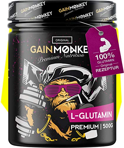GAINMONKEY® L-Glutamin Pulver - Hochwertig Vegan & Ultrafein I Glutamin Aminosäure mit 99,95% Reinheit I Made in Germany