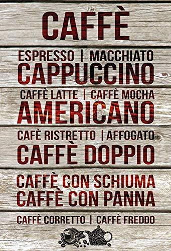 Caffe koffie cappuccino Americano houten bord metalen bord bord gebogen metalen plaat metaal Tin Sign 20 x 30 cm