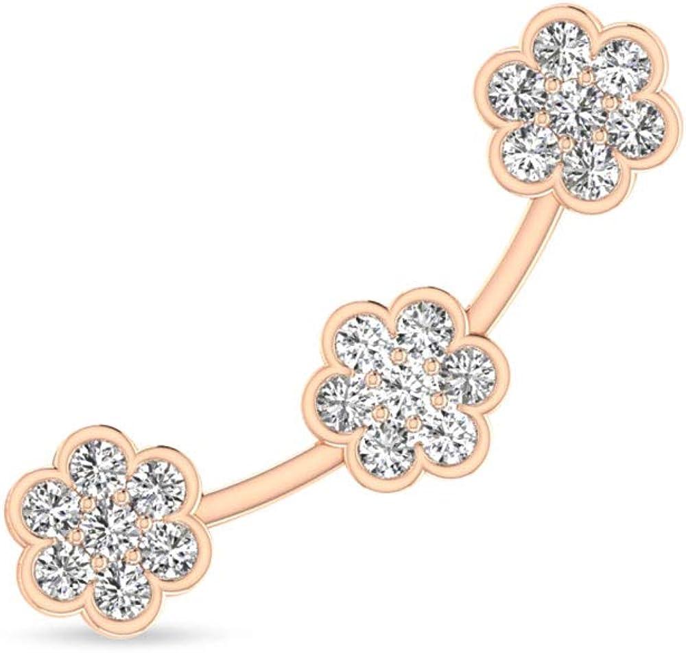 14 Karat Rose Gold IGI Certified Diamond Ear Cuff Earring, Unique Flower Push Back Cuff Wrap Earring for Women - IJ-SI Color Clarity