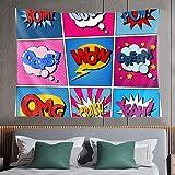 Tapiz de pared,comic bubbles set expressions bom cool pow oops wow dream omg crash yeah halftone background pop art,tapiz para colgar en la pared para dormitorio estético como arte de pared y