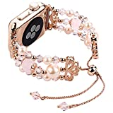 TOMAZON Bracelet Bands Compatible for Apple Watch 42mm 44mm iWatch Band SE Series 6/5/4/3/2/1, Handmade Crystal Pearl Jewelry Adjustable Wristbands for Women Female, Rose Gold