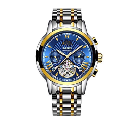 LIGE - Reloj de pulsera para hombre, automático, mecánico, de acero inoxidable,...
