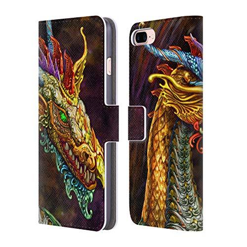 Head Case Designs Ufficiale Myles Pinkney Drago Argento Mitologico Cover in Pelle a Portafoglio Compatibile con Apple iPhone 7 Plus/iPhone 8 Plus