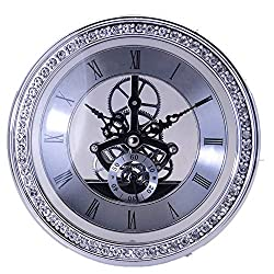 DEEWISH Clock Inserts, Transparent Skeleton Clock Inserts Recessed Quartz Clockwork Table Clock Clock MovementClock DIY (Diameter 148mm, Silver)