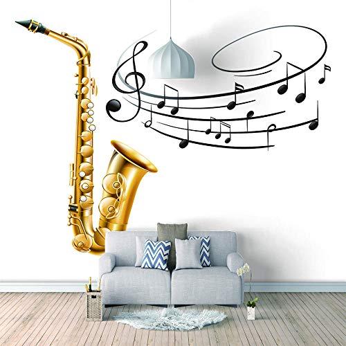 3D Wallpaper Musiksymbol Saxophon Bar Ktv Retro Wooden Wall Murals Hotel Restaurant Living Room Sofa Tv Wall Bedroom Wallpaper.250X175Cm (Breite X Höhe)