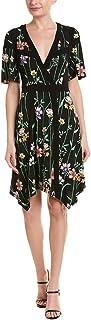 BCBGMAXAZRIA Women's Floral V-Neck Printed Matte Jersey Dress