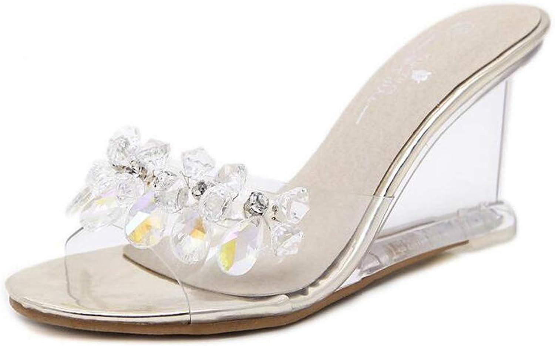 U-MAC High Heel Wedge Platform Sandals Crystal Transparent Sexy Ladies Summer Slippers Charming Party Dress Outdoor Walking shoes