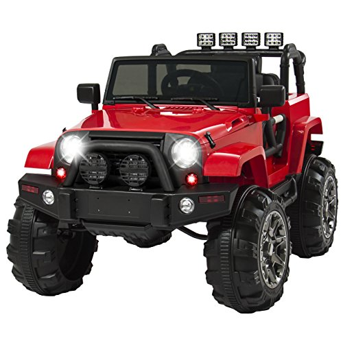 Best Choice Products Kids 12V Ride On Truck, Battery Powered Toy Car w/ Spring Suspension, Remote Control, 3 Speeds, LED Lights, Bluetooth - Red
