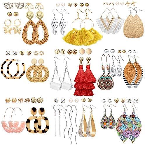 47 Pairs Fashion Earrings for Women Girls Boho Statement Tassel Rattan Leather Earrings Ethnic product image