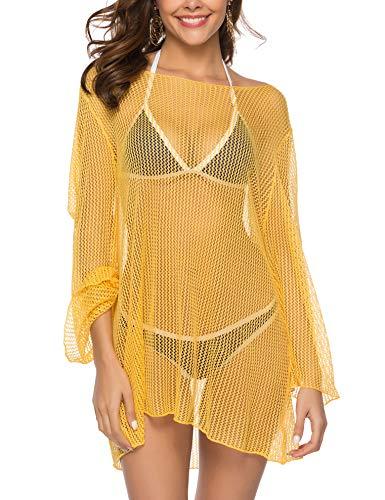 SIRUITON Damen Netz-Shirt Sexy Top Fish Net Sommer Langarm Casual Blouse, Gelb, L