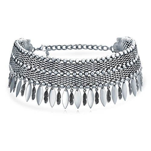 Native American Style Coachella Festival Dangling Feather Wide Choker Necklace for Teen for Women Oxidized Silver Plated