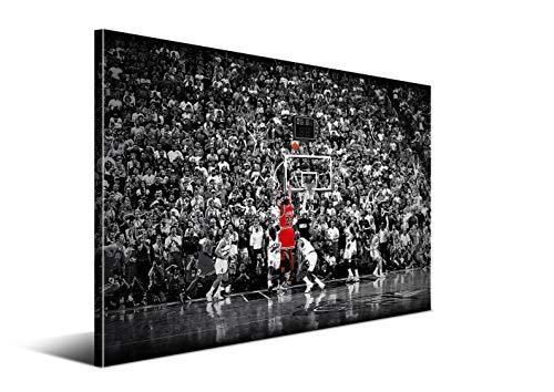 DON LETRA The Last Shot - Cuadro del Último Tiro de Jordan, 60 x 40 x 2 cm, Decoración de Pared para Salón y Dormitorio, Lienzo 100% Poliéster y Bastidor de Madera, LZ-012
