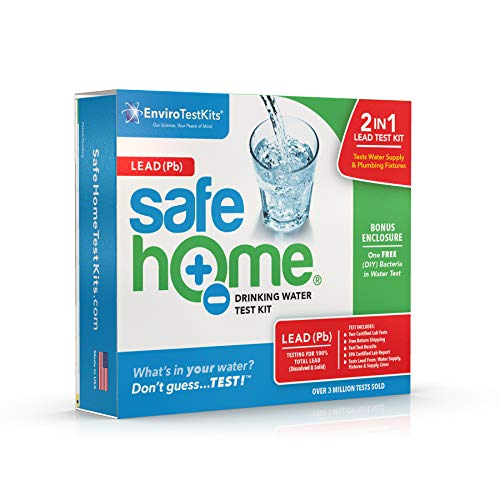 Safe Home LEAD in Drinking Water Test Kit – Two Samples Tested at our EPA Certified Lab – Detection Level of 1 ppb – City Water or Well Water