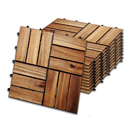 wolketon 30 x 30 cm Akazien-Holz Holzfliesen 11er Set für 1 m² Garten-Fliese Bodenbelag mit Drainage, Klick-Fliesen für Garten Terrasse Balkon (Model A, Größe: 11 Stück   1m²)