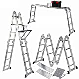 Keraiz 4.75M Multi-Function Light Weight Aluminium Construct Folding Ladder | Multipurpose Ladder | Telescopic Ladder | Platform Ladder | Manufactured to EN131