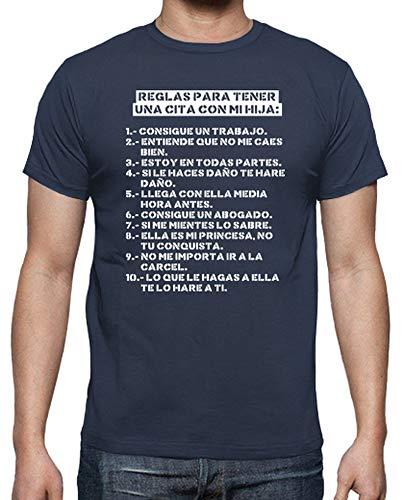 latostadora Camiseta Reglas para Tener una Cita con mi Hija (Oscura) - Camiseta Hombre clásica, Denim Talla XXL