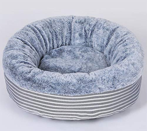 Cama Redonda para Gatos para Gatos y Cachorros (50 cm) - El cojín de Felpa Lavable a máquina es Suave y cómodo (Gris)