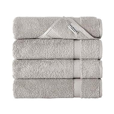 SALBAKOS Luxury Hotel & Spa Turkish Cotton 4-Piece Eco-Friendly Bath Towel Set 27 x 54 Inch, Stone