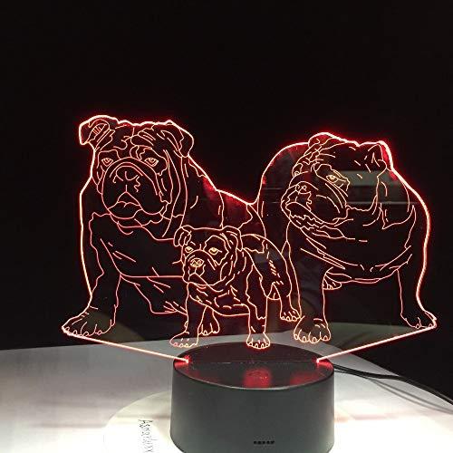 Pug Dog Family Luminosa lámpara de Mesa Novedad Color luz Nocturna decoración del hogar cabecera Animal Creativo Regalo Infantil
