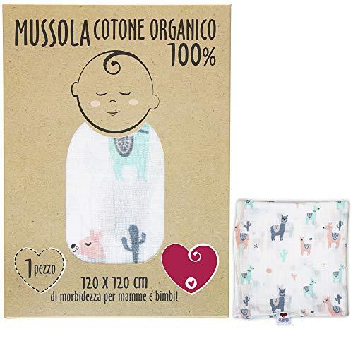 Mussola Neonato In Cotone Morbido ed Organico per Bimbi E Bebè. Ideale Come Asciugamano Copertina Lenzuolino Per Culle Carrozzine. 100% Anallergico 120x120cm Confezione Regalo Inclusa (Lama)