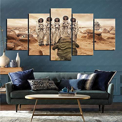 ZKSB 5 Paneles De Arte De Pared Sci Fi Alien Decoración del Hogar Póster Sala De Estar Dormitorio Decoración Papel Tapiz 100X50Cm Pintura Sin Marco