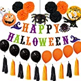 WSKRNGEY Party Luftballons,Halloween Schreiben Ziehen Flagge Fahne Set Schwarz Orange Kürbis Ballon Dekoration Eule Assistenten Quaste Eingestellt