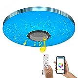 Wayrank Plafoniera LED RGB con Altoparlante Bluetooth, Lampada da Soffitto Dimmerabile con Telecomando e Controllo APP, Lampadario per la Cameretta Cucina Soggiorno, 36W