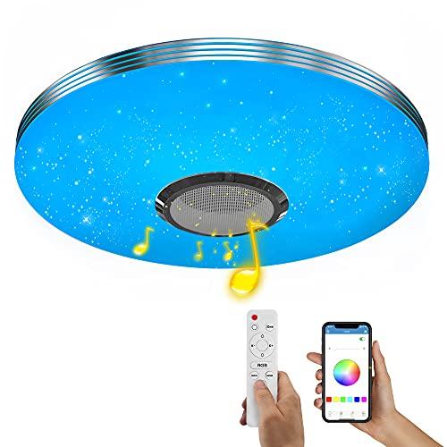 Wayrank Plafoniera LED RGB con Altoparlante Bluetooth,36W Lampada da Soffitto Dimmerabile con Telecomando e Controllo APP, Lampadario per la Cameretta Cucina Soggiorno