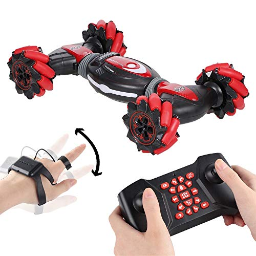 Pryme One Remote Control Stunt Gesture car Remote Control and Gesture Sensing, 360 Degree Off Road Vehicle. All Terrain car Lights and Sounds Remote Car Toy Gift for Boys and Girls. (Red