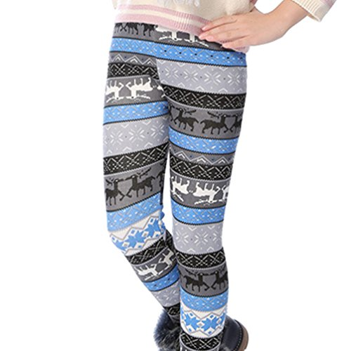 Ugitopi Mädchen Winter Dicke Warme Lange Hosen Druck Fleece Gefüttert Leggings gray Blue Elk 140