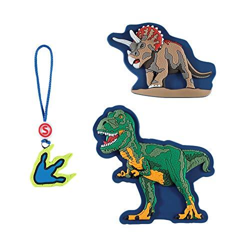 """Step by Step Magic Mags Schleich® Dinosaurus T-rex"""", 3-teilig, 2 Magnet-Applikationen und 1 Anhänger, als Ergänzung für den Schulranzen oder Vorschulrucksack, für Jungen"""