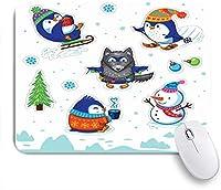 EILANNAマウスパッド メリークリスマスホリデー粘着性のある幸せな手ホリー新しい氷年動物ファンタジー野生動物の休日 ゲーミング オフィス最適 おしゃれ 防水 耐久性が良い 滑り止めゴム底 ゲーミングなど適用 用ノートブックコンピュータマウスマット
