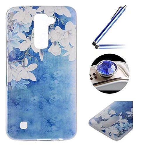 LG K7 TPU Coque étui,LG K7 Ultra-minces Silicone Doux Housse,Etsue Joli Classique élégantMagnolia Peint Motif Design Souple Gel avec Transparent Cadre de Housse Coque Coquille pour LG K7 + 1x Bleu style + 1x Bling poussière plug (couleurs aléatoires) - Magnolia