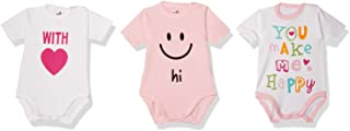 Papillon Printed Short-Sleeves Snap Closure Bodysuit Set for Girls, 3 Pieces