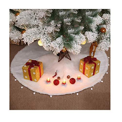 Wanshop Plüsch Weihnachtsbaum Röcke Weihnachtsschmuck Kunstfell Weiß Weihnachten Baum Rock Urlaub Baum Ornamente Dekoration für Weihnachten (D: 122cm)