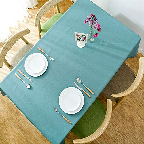 YUBIN Tablecloth Simple Solid Color Tablecloth Waterproof Anti-Scald Oil-Proof Disposable Pvc Plastic Tablecloth Rectangular blue100x137CM (Color : Green, Size : 100x137CM)