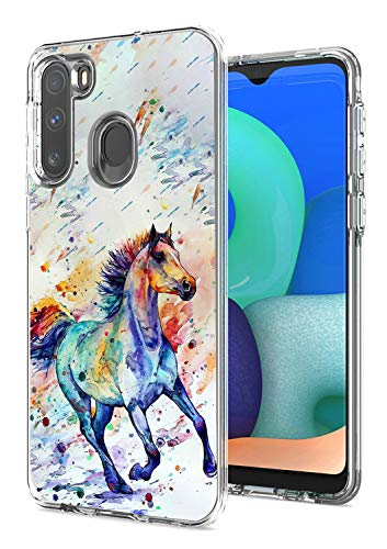 for Samsung A11 Case, Galaxy A11 Case, Dikoer 2 in 1 Heavy Duty Hybrid Clear Hard PC Cover + Soft Silicone Shockproof Premium Protective Phone Cases for Samsung Galaxy A11, Watercolor Horse