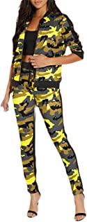Macondoo Women 2 Pieces Sport Pants Zip Coat Camouflage Tracksuit Set
