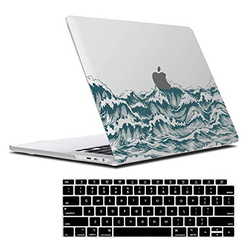Lapac MacBook Air 13 Inch Case 2020 2019 2018 Release A2337 M1 A2179 A1932, Ocean Design Macbook Air 13' Cover Hard Shell Case Retina Display Fits Touch ID with keyboard cover, Blue Sea Japanese Waves
